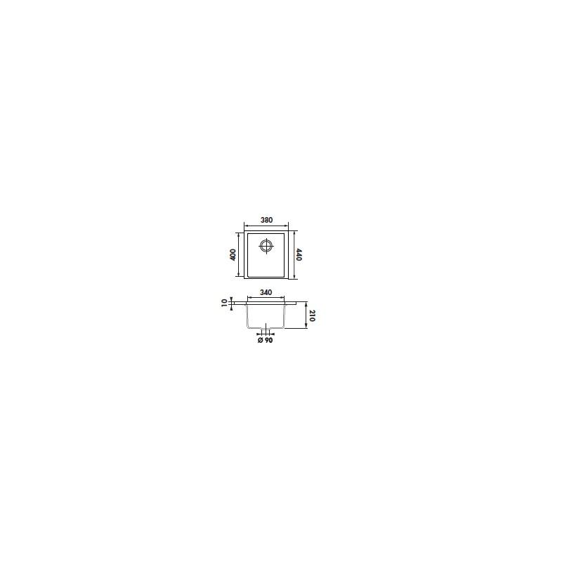 Schock De de luisina cuve rectangulaire 380x440 sous plan blanc alpin