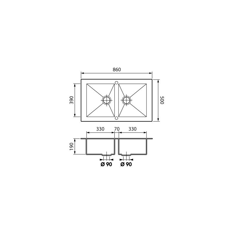 Luisina Evier 2bac Sans Egouttoir 860x500 Inox Lisse Modele Opus De Luisinox