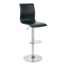 TABOURET JUSTY ASSISE NOIR PIETEMENT CHROME - DE LUISINA