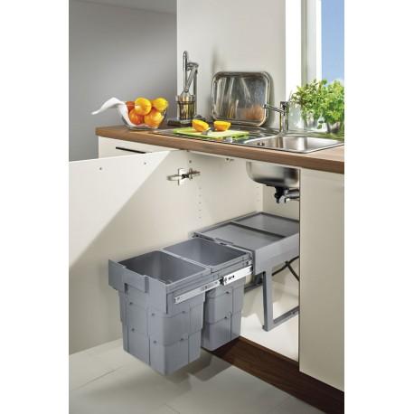 poubelle 2 bacs coulissante retractable 32 litres pour meuble de ninka. Black Bedroom Furniture Sets. Home Design Ideas