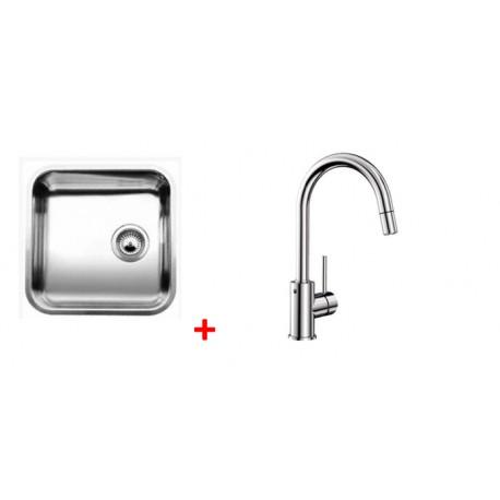 Pack évier BLANCO SUPRA 400-U 1 cuve + robinet BLANCO MIDA-S