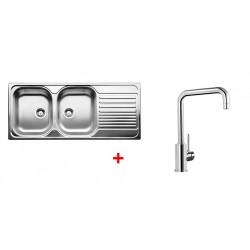 Pack évier BLANCO TIPO 8 S - 2 cuves + égouttoir + robinet BLANCO MILI