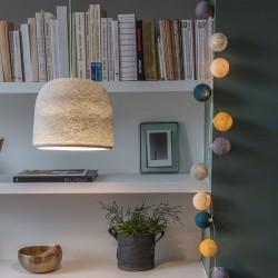 Luminaire suspension modèle cloche coloris perle