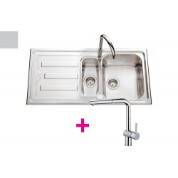Lot évier Nuance 1 bac, 1 vide-sauce coloris Inox mini-structure + mitigeur RCD214/DO Chromé