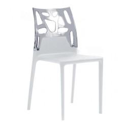 Chaise avec dossier polycarbonate transparent et piètement polypropylène blanc