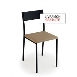Chaise avec assise vinyle fossil et piètement métal noir - LUISINA