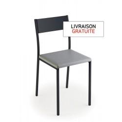 Chaise avec assise vinyle gris trafic et piètement métal graphite - LUISINA