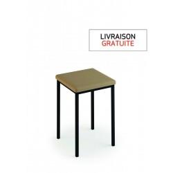 Tabouret 48 cm avec assise vinyle fossil et piètement métal noir - LUISINA