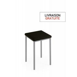 Tabouret 48 cm avec assise vinyle noir et piètement métal alu - LUISINA