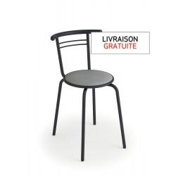 Chaise avec assise vinyle gris trafic et piètement métal graphite