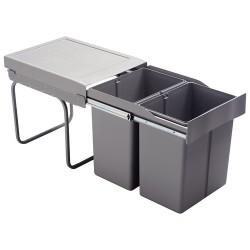 Poubelle tri des déchets coulissante 42L - 2 bacs
