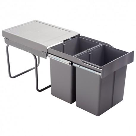 Poubelle tri des déchets coulissante 42L