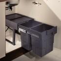 Poubelle tri des déchets coulissante 32L - 2 bacs - WASTERBOY
