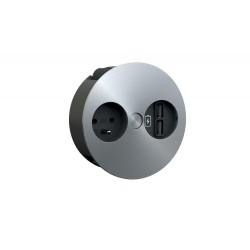 Prise à encastrer coloris Inox 1 prise et 2 prises USB de luisina