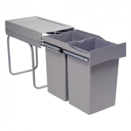 Poubelle tri des déchets coulissante de 2 bacs de 28L