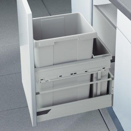 Poubelle tri des déchets suspendue sur tiroir à ouverture manuelle coulissante 45L