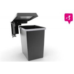 Poubelle HANDY monobac 24 litres lot de 3 poubelles coloris gris