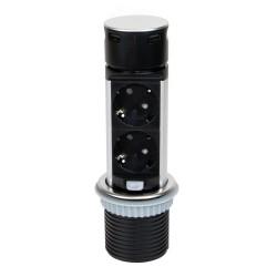 Tour de 2 prises avec 2 ports USB, à encastrer, escamotable, avec push, prise type Schuko, Acier et plastique, inox