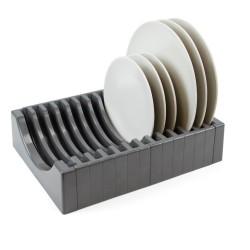 Porte-assiettes pour meuble, capacité 13 assiettes, plastique, gris anthracite
