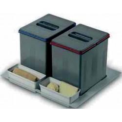 Poubelle tri sélectif 2 x 16 litres ouverture manuelle
