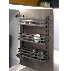 Support à épices avec 3 étagères pour meubles de cuisine ou mur, acier, gris anthracite