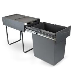 Poubelle de recyclage de 20L pour la cuisine, fixation inférieure, extraction manuel, acier et plastique, gris anthracite