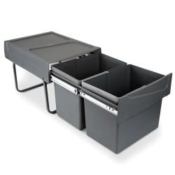 Poubelles de recyclage pour la cuisine, 2 x 15 L, fixation inférieure, extraction manuel, acier et plastique, gris anthracite