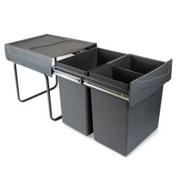 Poubelles de recyclage pour la cuisine, 2 x 20 L, fixation inférieure, extraction manuel, acier et plastique, gris anthracite