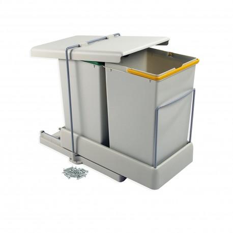 Poubelles de recyclage, fixation inférieure, extraction et couvercle automatique, 2 conteneurs de 14 litres