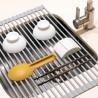 Egouttoir à vaisselle flexible en silicone et acier, plastique gris