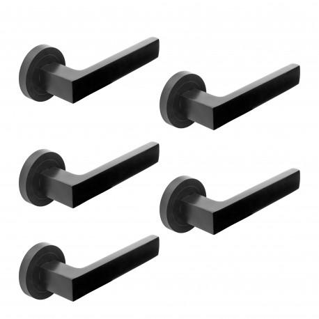 Lot de 5 poignées Mackay de porte intérieur, avec rosace D.50 mm, Aluminium, noir