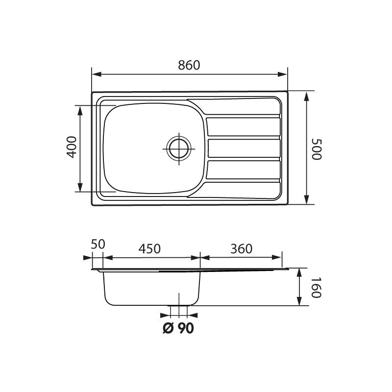 luisina evier 1 grand bac 1 egouttoir 860x500 inox lisse. Black Bedroom Furniture Sets. Home Design Ideas