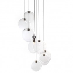 LUISINA - SUSPENSION 3 LUMIERES + 4 BOULES + TRANSPARENTS MODELE AMISTER